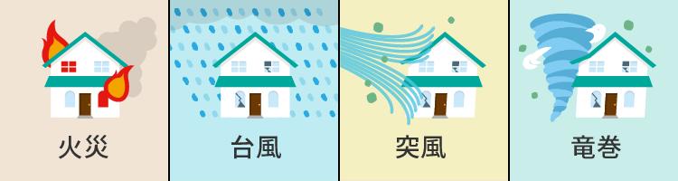 火災・台風・突風・竜巻が破損原因なら火災保険
